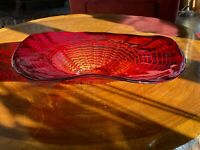 "Murano Hand Blown Red Glass Sunset Wave Explosion 19"" Centerpiece Bowl Exquisite"