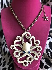 Betsey Johnson Vintage Nautical HUGE White Octopus Starfish Long Necklace RARE