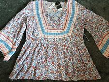 Ladies Gypsy-Style Loose Floral Blouse Size 10 New