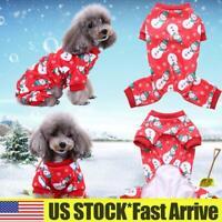 Pet Dogs Cats Christmas Jumpsuit Pajamas PJS Puppy Soft Cotton Costume Clothes