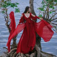 Women Fairy Medieval Maxi Long Dress V Neck High Waist Prom Gown Renaissance Red