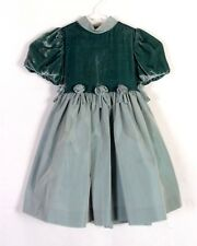 euc Lesy by Lisetta Corsi Seafoam Velvet Girls Dress Toddler made in Italy 4/4T