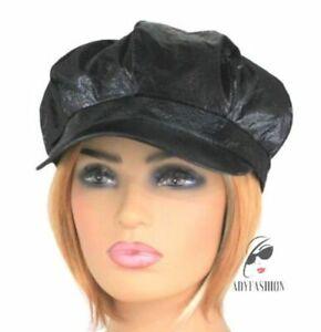 Ladie's Women's Baker Boy Newsboy Cap Hat Rainproof BLACK Crinkly Faux Leather