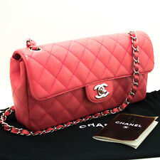 CHANEL Authentic Caviar Chain Shoulder Bag Pink Quilted Flap Leather Silver k55