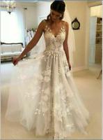 White/Ivory Wedding Dress V Neck Bridal Gown