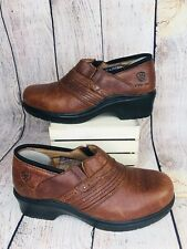 Ariat Women's 7B Brown Leather Clogs Steel Toe Work Shoes Style 10002367