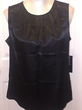 69.00 NWT JONES NEW YORK PLATINUM COLLECTION SHINY BLACK SLEEVELESS TOP SZ 10