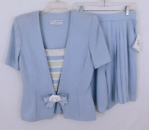 St. John Collection Blue Frost Knit SS Blazer & Pleated Shorts Suit NWT sz 10