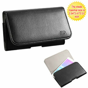 Black Leather Case Clip Horizontal Pouch for LG V30