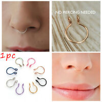 No Piercing Needed Fake Nose Ring Faux Septum Body Jewelry Cilp On Hoop