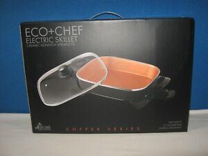 """Eco Chef 12"""" Electric Skillet Copper Chef Series Ceramic Non Stick Appliance NIB"""