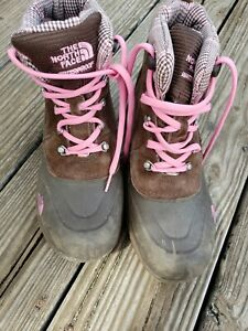 THE NORTH FACE GIRLS HEAT SEEKER WATERPROOF LACE UP WINTER BOOTS SZ 6 Brown/Pink