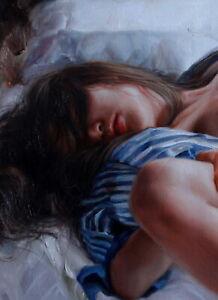 "Fine art female nude original oil painting on canvas sleepping girl  24""x32"""