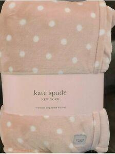"Kate Spade Polka Dots Plush Soft Fleece Blanket Oversized King Size 112""x92"" NWT"