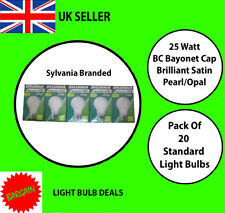 PACK OF 20 SYLVANIA 25W BC OPAL LIGHT BULBS PEARL STANDARD OLD FASHION BULB NEW