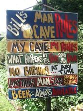 MAN CAVE RULES COUNTRY WOOD RUSTIC HAND MADE PERSONALIZED CUSTOM SIGN PLAQUE