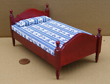 1:12 Scale Mahogany Coloured Single Bed Dolls House Miniature Bedroom DF254M