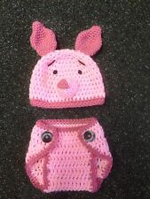 Hand Crochet  Baby Piglet Photo prop Diaper Cover and Hat - NEW