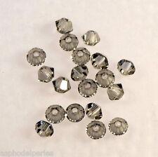 50 perles  toupies en cristal de Swarovski  5328 Black diamond 3 mm