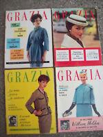 1958 'GRAZIA' LOTTO DI 4 RIVISTE DI MODA COSTUME E SOCIETA' NUMERI DI GIUGNO