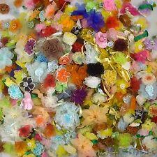 50pcs Assorted Satin Organza Grosgrain Ribbon Flower Appliques Craft Sewing DIY