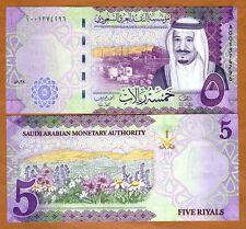 Saudi Arabia, 5 Riyals, 2016, P-38a, Redesigned, New King Salman, A-Prefix, UNC