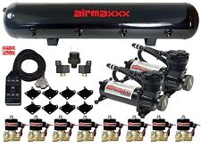 "AirMaxxx Black 480 Air Ride Compressors 1/2"" Brass Valves Black 7 Switch & Tank"