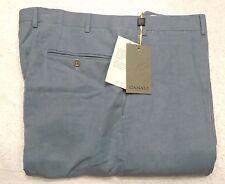 Canali Linen Silk Blend Dress Pants NWT 38 waist (unhemmed) $495 Slate Blue