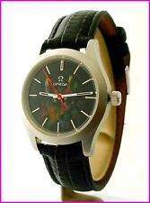 Unique Omega Cal. 601 Steel 36mm Ceramic Hand Painting Wolf Black Dial Men Watch
