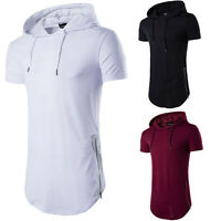 Mens T-Shirt Lot Long Extended Casual Fashion T-Shirt Basic Hooded Neck Hip Hop