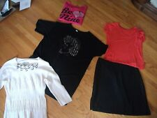 womens sz 16 & Large shirts and skirt lot white, pink, black 2x751