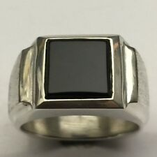 MJG STERLING SILVER MEN'S RING.10 X 10MM  SQUARE BLACK ONYX. SZ 10