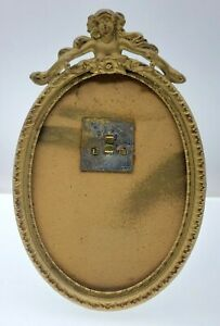 Vtg Ornate Metal Picture Frame Angel woman Gold tone Baroque Art Deco small