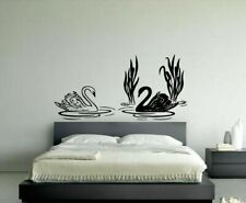 Wall Vinyl Sticker Decal Mural Design 2 Black And White Swans On Water #951
