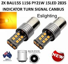 2 X 12V BAU15S 15 LED AMBER INDICATOR TURN SIGNAL CAR UTE 4WD LIGHT BULB GLOBE