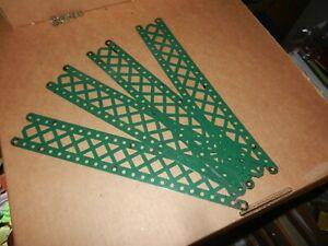 4 MECCANO #99  12 1/2 inch Braced Girders, Dark Green,  Late 1920's, Original