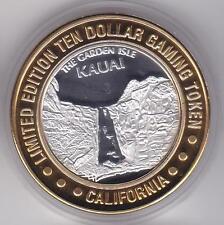 1999 California Hotel KAUAI The Garden Isle S .999 Fine Silver $10 Casino Token