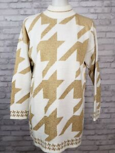 Dana Scott sweater M/L gold white houndstooth tunic vintage 90s mock turtleneck