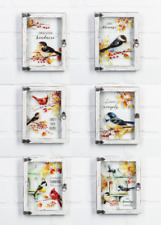 """Ganz H9 Fall Thanksgiving Fall Birds 6"""" H Window Plaque ER65980 Choose Design"""