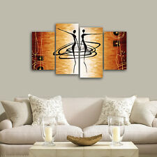 Abstract Canvas Print Painting Pictures Home Decor Wall Art Dancer Brown Framed