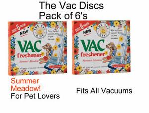 2 x 6 PACK Vac Air Freshner  SUMMER Meadow Vacuum Cleaner Pet Lovers Hoover Disc