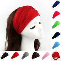 Women Wide Cotton Sports Headband Hairband Soft Elastic Hair Band Turban Wraps