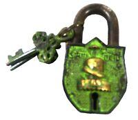 Shiva Linga Shiv Shape Lock Vintage Antique Style Handmade Brass Padlock & Keys