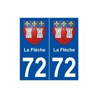 72 La Flèche blason autocollant plaque stickers ville -  Angles : droits