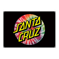 "Santa Cruz Skateboard Banner Tie Dye Dot Flag Black 32"" x 46"""