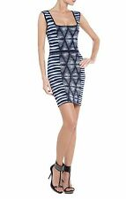 BCBG Max Azria Blue Printed Knit Hailey Shibori Dress New Size XXS $288