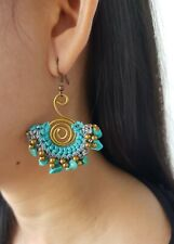 Beautiful Handmade Macrame Earrings, Turquoise Stone, Waxed Cord & Brass Beads