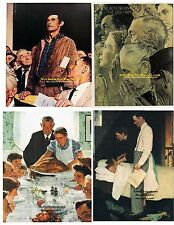 Norman Rockwell FOUR FREEDOMS set of 4:Freedom OF Worship&Speech, FROM Want&Fear