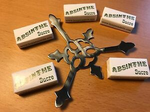 STAR ABSINTHE SPOON GRILLE STYLE & 10 SUGAR CUBES with FREE SHIPPING