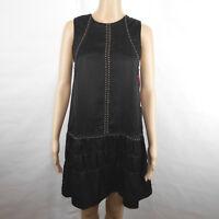 Anthropologie Chloe Oliver Black Sleeveless Milano Shift Dress Cupro Silk Medium